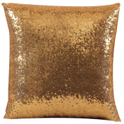 RoseSummer Glitter Sequins Cushion Pillow Cover Solid Satin Sparkling Glitzy Throw Pillow Case Cafe Decor