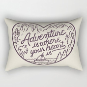 Adventure is Where Your Heart is Valentines Day Rectangle Throw Pillow Covers Pillow Cases Decorative Rectangualr 12 x 20 Valentine's Day Gifts for her him girlfriend