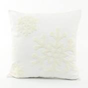 Kingfansion Canvas Cotton Embroidery Throw Covers Christmas Snow Square Throw Pillow Covers