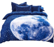 Ningkotex Starry Sky Print Blue Quilt Cover Pillow Cases King Queen Full Bedding Set NEW
