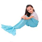 E-Joy Mermaid Tail Blanket, Mermaid Crochet Knitting Blanket, Best Birthday Christmas gift Blanket Handmade Living Room Sleeping Blanket -MB_Children_Blue 140cm x 60cm