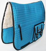 Horse Quilted ENGLISH SADDLE PAD Pockets Half Fleece Padded Dressage 7273