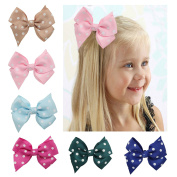 DUOQU 18 Pcs Multicolor Baby Girl Grosgrain Print Dot Ribbon Boutique Big Hair Bows Alligator Clips Fashion Hair Accessories For Teens Baby Girls Babies Toddlers