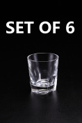 Huappo Crystal Whiskey Tumbler Glasses Barware Lead Free Cup for Drinking Wine Vodka 210ml, Set of 6