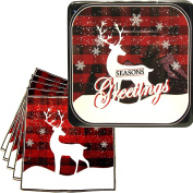 Vintage Reindeer Holiday Party Plates and Napkins - Chic Classic Reindeer Holiday Party Supplies Pack - Serves 16 - Seasons Greeting Decorations