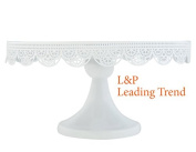 Charmed White art deco vintage lace metal cake stand pedestal