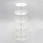 Mochiglory 6 Tier Clear Acrylic Cupcake Stand Tower Tree Round Stacked Dessert for Wedding Birthday Party