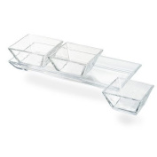 Artland Cortland 3 Section Glass Tray with Square Bowls, Small