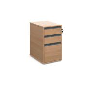 DAMS 3 Drawer Desk End Pedestal, Wood, Beech