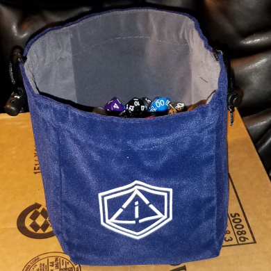 "Third Die Dice Bag - Very Large ""Bag of Hoarding"" - Will Hold 450 Dice - Handcrafted and Reversible Drawstring Bag That Stands Open On The Table - For All Your Gaming Needs - Navy Blue and Grey"