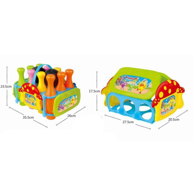Acefun Kids Bowling Ball Game Set (10 Pins + 2 Balls) and Assembly Bowing House - Blue Green