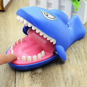 VKOPA Shark Dentist Game Toy Bite Hand Finger Tricky Spoof Big Mouth with Evil Laughter and Glowing Eyes