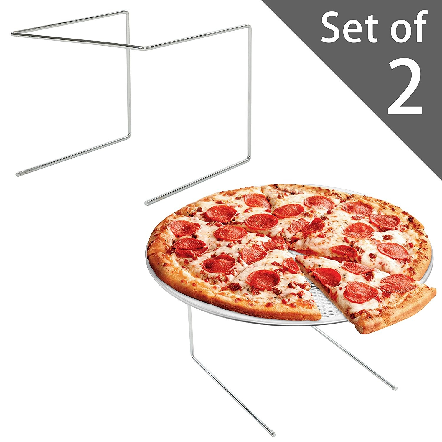 MyGift Silver Metal Pizza Tray Display Tabletop Stand Set of 4