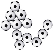 OPount 12 Pieces 36mm Table Soccer Balls Black and White Mini Football Fussball