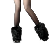 SwirlColor Fluffy Faux Fur Winter Warmer Shoe Cover Leg Fur Boot Sleeve For Women - Black