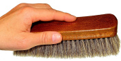 DELARA Very Large Soft Horse Hair Polishing Brush Made From Lacquered Wood Silver Grey
