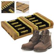 Portable Wooden Heavy Duty Double Shoe & Boot Brush Scraper Outdoor Mat