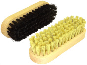 DELARA Two Small Wooden Handled Shoe Buffing Brushes With Natural Bristles - Black and Natural Colour