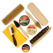 Shoe Care Kit II - Natural Wood Shoe Shine Brushes Made in Germany.