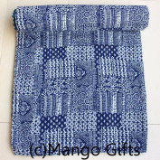 Mango Gifts 100% Cotton Handmade Kantha Quilt Queen Size , Traditional Indian Bedspread Gudri Vintage Throw