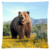 Grizzly Bear Customised Zipper Standard Size Pillowcase Cushion Cover 46cm x 46cm