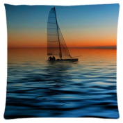 Sailboat Customised Zipper Standard Size Pillowcase Cushion Cover 46cm x 46cm