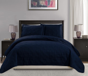 Mk Collection King/California king over size 300cm x 270cm 3 pc Geo Bedspread Bed-cover Quilted Embroidery solid Navy Blue New