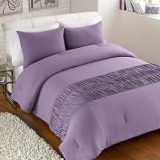 Keeco Jersey Roached Comforter Set, Light Purple