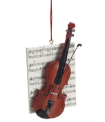 1 X Violin with Sheet Music Resin Hanging Christmas Ornament - Size 11cm .