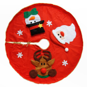 Ivenf 100cm Santa Snowman And Reindeer Christmas Tree Skirt With Golden Lining
