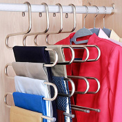 DOIOWN S-type Stainless Steel Clothes Pants Hangers Closet Storage Organiser for Pants Jeans Scarf hanging (14.17 x 14.96ins, Set of 3)