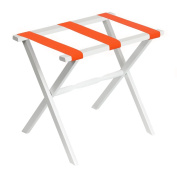 Gate House Furniture White Folding Wood Luggage Rack with Straight Legs and Bright Orange Straps