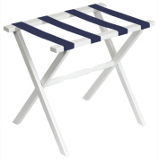 Gate House Furniture White Wood Folding Luggage Rack with Straight Legs and 4 Navy Straps