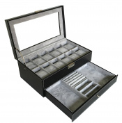 Sodynee PU Leather Glass Top Watch Box with Jewellery tray - Black