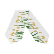Naanle Double-Sided Yellow Tulip Polyester Table Runner 33cm x 180cm Long White Table Top Decoration