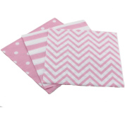 Youmewell Striped Chevron Polka Dot Pink Paper Beverage Napkins 60 Count