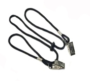 2PCS Adjustable Black Napkin Clip Lanyard Neck Strap Bib Clip With Metal Clips for Elderly/adult/baby