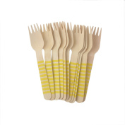 Youmewell Yellow Striped Wooden Disposable Cutlery Wooden Forks 36 Count