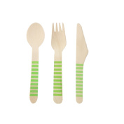 Youmewell Green Striped Wooden Disposable Cutlery Wooden Knives Forks Spoons 36 Count