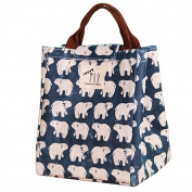 Moolecole Fashion Portable Waterproof Canvas Lunch Bag Insulation Printing Thicken Foldable Reusable Picnic Bags Cooler for Women Polar Bear