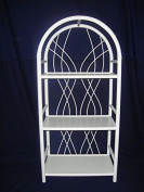 'RAMIN Rattan Shelving Unit Made in Germany white round arch