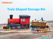 Orbrium Toys Train Shaped Collapsible Toy Storage Bins Organiser for Thomas Wooden Train and Trackmaster, etc.