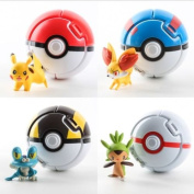 4PCS Bounce Pokemon Pokeball Cosplay Pop-up Go Fighting Poke BALL Toy & 4 Elfs