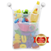 Baby Toy Storage Mesh Bag + 2 Strong Suction Cups + 2 Water Spray Toy - Bathtub Toys Tidy Holder Organiser - Shower Caddy for Kids and Toddlers - Bathroom Basket for Baby Boys and Girls - Hanging Hammock