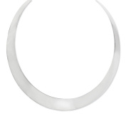 11mm Polished Sterling Silver Tapered Slip On Neck Collar, 14 Inch