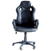 IDS Computer Gaming Racing Mesh Chair Ergonomic High-back Swivel PU Leather with Headrest and Lumbar Support - Black