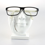 Artsy Face Eyeglass Holder Stand - Sculpted Nose for Eyeglass or Sunglasses, White