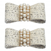 Shoelery White Tweed Pearl Bow Shoe Clips Pair by Erica Giuliani