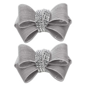Shoelery Textured Taupe Crystal Triple Bow Pair by Erica Giuliani