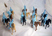 Alamo Mexican Helmeted Cavalry 12 Figures in 9 Poses in Light Blue Plus 12 Horses Offered By Classic Toy Soldiers, Inc